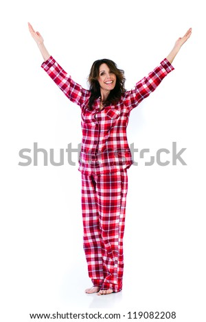 Pretty Woman in red flannel pajamas