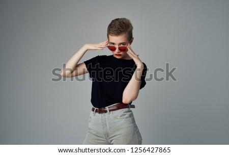 Pretty woman in sunglasses                             #1256427865