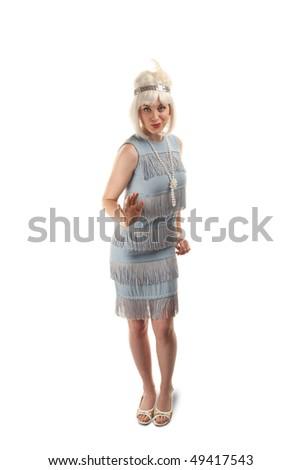 Pretty woman in vintage 1920s flapper dress