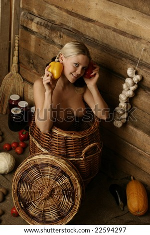 pretty woman is in a rural pantry