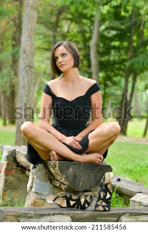 Free Photos Pretty Woman Portrait Wearing Summer Black Dress And