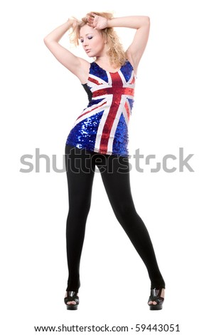 Pretty woman posing in union-flag shirt. Isolated on white