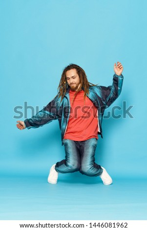 Pretty woman pretty man with dreadlocks on his head modern style break dance energy music  #1446081962