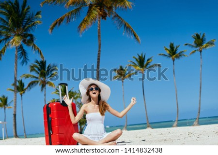 Pretty woman red suitcase beach palm travel summer vacation vacation