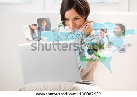 Pretty woman surfing on web with modern laptop