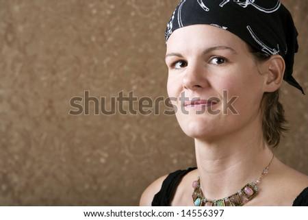 Pretty Woman Wearing a Bandanna on Her Head