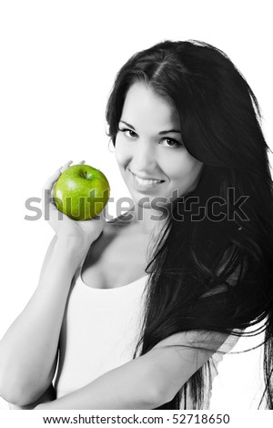 Pretty woman with apple on white background