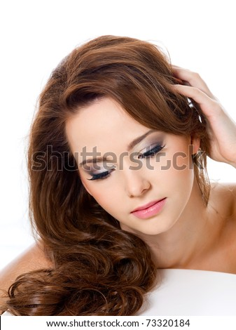 pretty woman with beauty hairs and glamour makeup - isolated