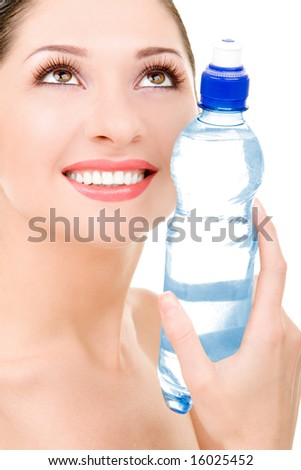 pretty woman with bottle of clean water