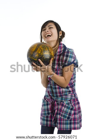 pretty woman with bowling ball, isolated on white background