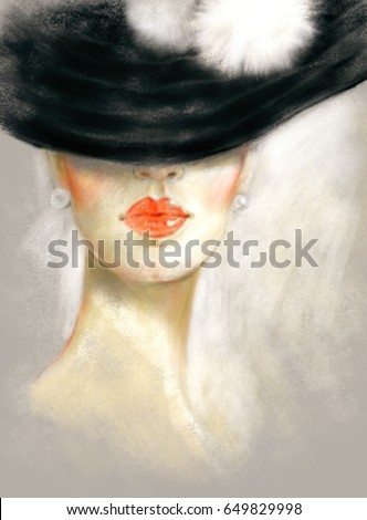 Pretty woman with hat. Fashion illustration. Pastel painting