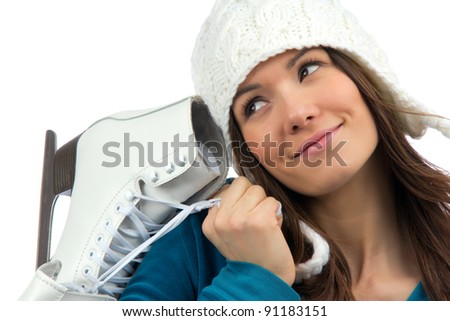 Pretty woman with ice skates winter sport activity in white cap smiling facial close-up isolated on a white background