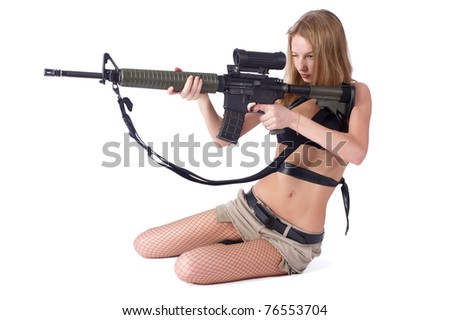Pretty woman with rifle