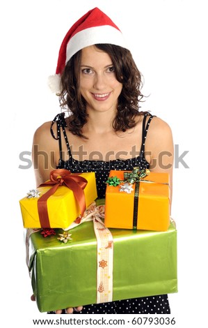 Pretty woman with santa hat holding christmas present