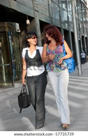Pretty women walking down the street