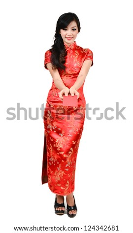 pretty women with cheongsam ,In Chinese new year a red packet is a monetary gift