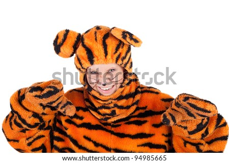 pretty young actress in the tiger costume