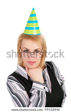 pretty young blond business woman in the birthday cap