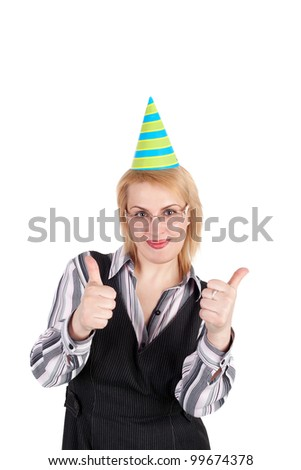 pretty young blond business woman in the birthday cap holding the thumbs up