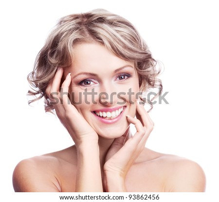 pretty young blond woman with curly hair, isolated against white background