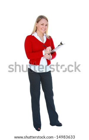 Pretty young, blonde office worker holding clipboard, isolated on white.