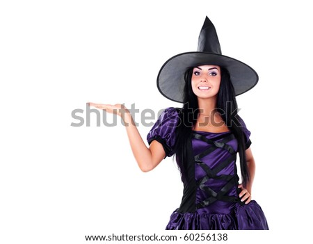 pretty young brunette woman dressed as a fairy with her hand up, place your product here