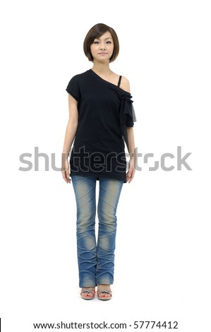 Pretty young casual girl standing up