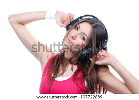 Pretty young DJ woman listening music sound headphones smiling and laughing isolated on white background