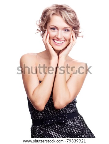 pretty young excited woman, isolated against white  background