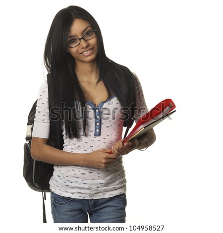 Pretty young female student with backpack and schools college supplies smiling.  Image isolated against white background,