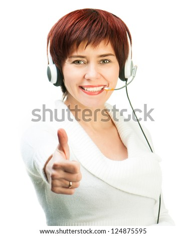 Pretty Young Female Wearing A Headset with thumbs up