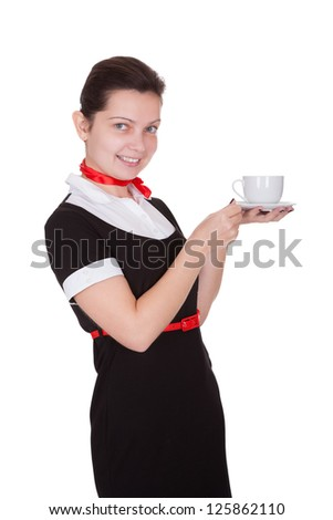 Pretty young flight attendant or hostess in a smart uniform isolated on white