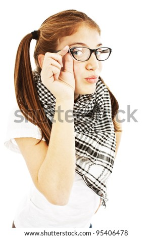 Pretty young girl in glasses. Isolated on white background.