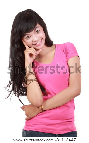 pretty young girl in pink smiling