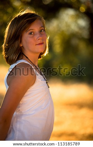 Pretty young girl in warm light
