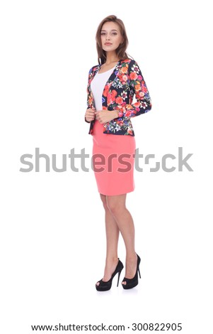 pretty young girl wearing coral short skirt and floral jacket