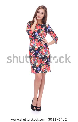pretty young girl wearing floral printed dress