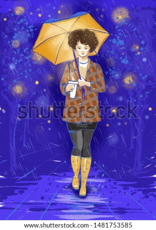 Pretty young girl with a yellow umbrella and a cup of coffee walking in a night street in rainy and windy weather