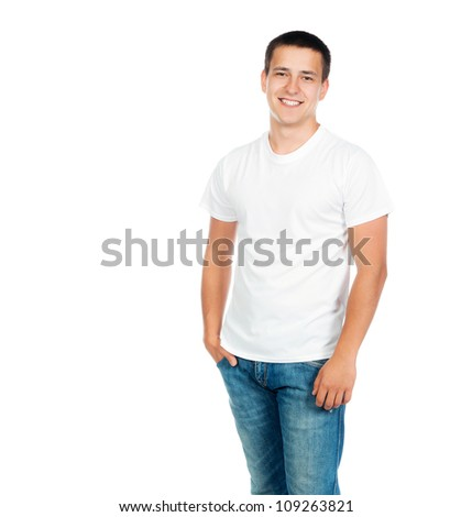 Pretty young man on white background. Studio shot