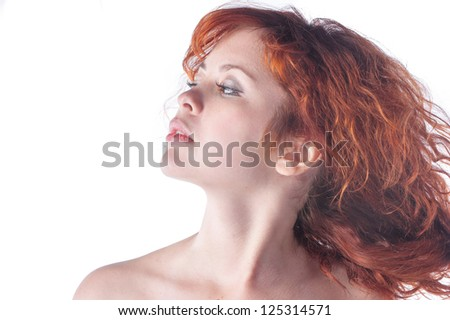 Stock Photo Pretty young redhead caucasian woman closeup portrait