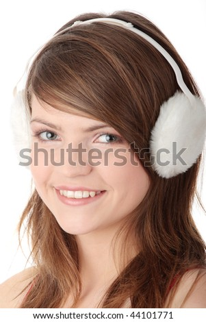 stock photo pretty young teen girl wearing white earmuff isolated on white 44101771 Winner will receive an array of Big Sexy Hair products including Silky Sexy ...