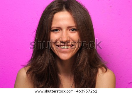 pretty  young white girl with different emotion. emotional card. - Shutterstock ID 463957262