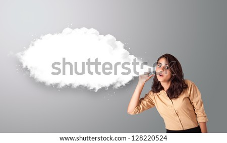 Pretty young woman gesturing with abstract cloud copy space