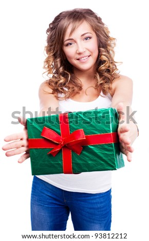 pretty young woman giving us a present, isolated against white background