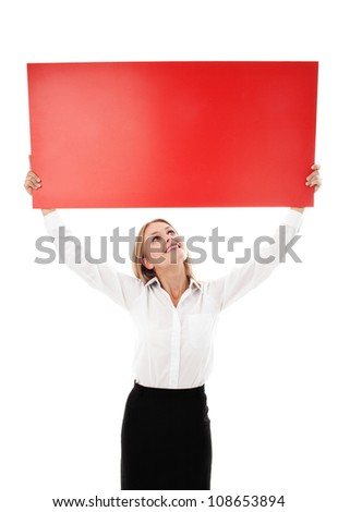 Pretty young woman holding billboard isolated on white background