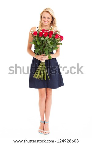 pretty young woman holding bunch of roses isolated on white