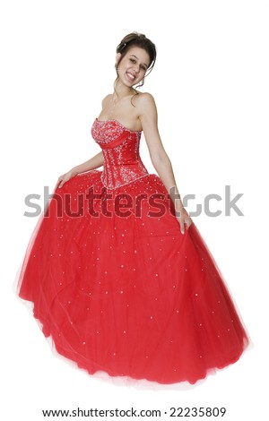 Pretty young woman in a beautiful strapless ball gown.