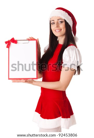 Pretty young woman in Santa's suit with clipboard on a white background.