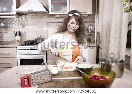 pretty young woman on kitchen with cockroaches