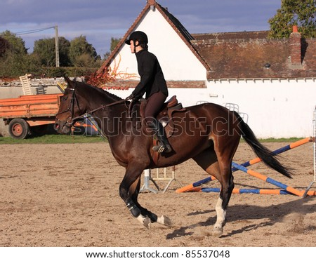 pretty young woman rider in a competition riding